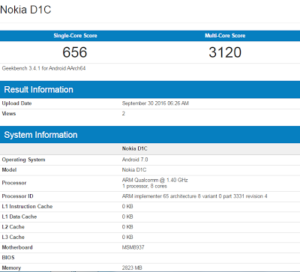 Nokia D1C with android 7.0 nougat surfaced on Geekbench